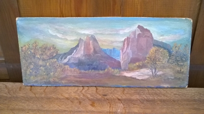 15K24511 SMALL UNFRAMED BUTTES OIL PAINTING.jpg
