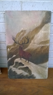 15K24514 UNFRAMED PRIMATIVE STYLE ELK ON SNOWY MOUNTAIN.jpg