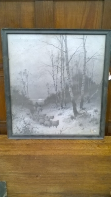 15K24520 FRAMED PAINTING OF SHEEP AND HORSE IN WOODS.jpg