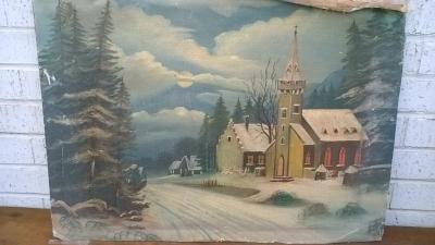 15K24523 UNFRAMED CHURCH ALONG SNOWY ROAD PAINTING.jpg