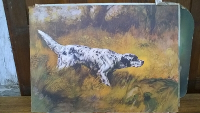 15K24531 UNFRAMED WHITE AND BLACK BIRD DOG PAINTING.jpg