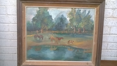 15K24537 FRAMED PAINTING OF 4 HORSES BY POND.jpg