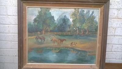 15K24537 FRAMED PAINTING OF 4 HORSES BY POND.jpg