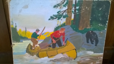 15K24557 UNFRAMED BLACK BEAR AND 2 GUYS IN A CANOE PAINTING.jpg