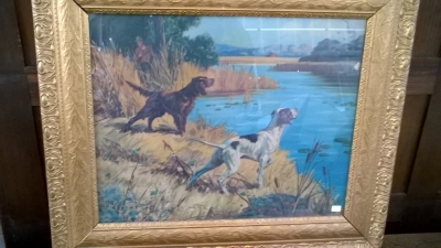 15K24616 GILT FRAMED PRINT OF HUNTER WITH A BROWN AND A WHITED DOG.jpg