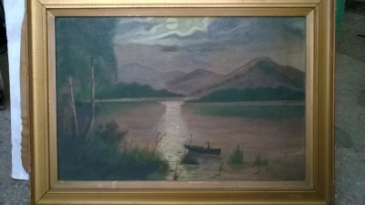 15K24623 FRAMED MOONLIGHT PRINT WITH MAN IN A CANOE.jpg