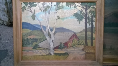 15K24625 FRAMED OIL PAINTING OF RED BARN WITH BIRCH TREE IN FORE GROUND.jpg