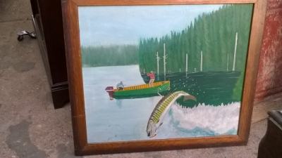 15K24629 FRAMED OIL PAINTING OF 2 MEN IN A BOAT CATCHING A PIKE.jpg
