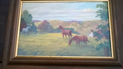 15K24636 FRAMED OIL PAINTING OF A WHITE HORSE AND 2 BROWN HORSES.jpg