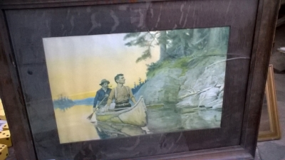15K24638 FRAMED PRINT OF 2 GUYS IN A YELLOW CANOE.jpg