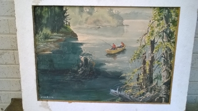 15K24641 WHITE FRAMED PAINTING OF 2 GUYS IN A YELLOW ROW BOAT.jpg