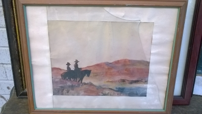 15K24646 AS IS FRAMED PAINTING OF 2 GUYS ON HORSEBACK.jpg