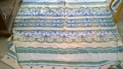 15K24688 GREEN, BLUE AND YELLOW INDIAN RUG.jpg