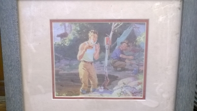 15K24734 PRINT OF MAN SHAVING IN WOODS.jpg
