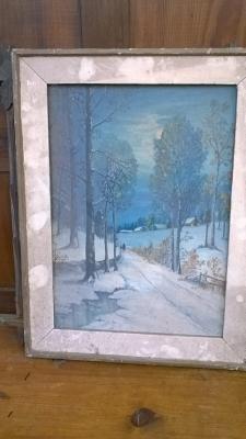 15K24736 FRAMED PRINT OF SNOWY ROAD AT NIGHT.jpg