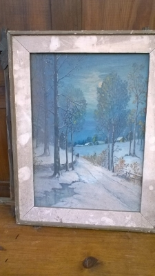 15K24736 FRAMED PRINT OF SNOWY ROAD AT NIGHT.jpg