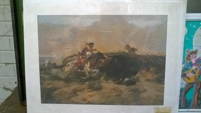 15K24738 UNFRAMED PRINT OF INDIAN HUNTING BUFFALO.jpg